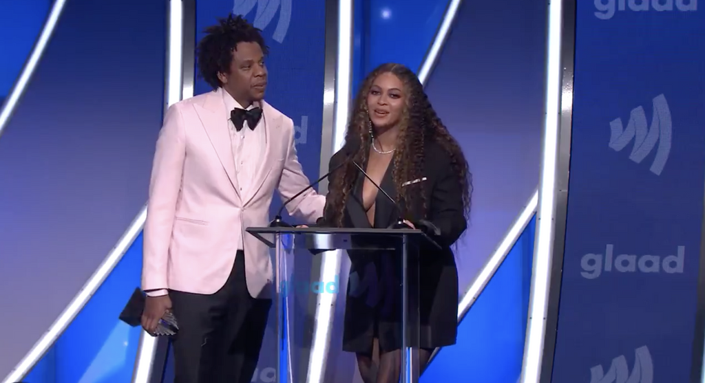 Beyonce & Jay-Z accepting the Vanguard Award at the 2019 GLAAD Media Awards
